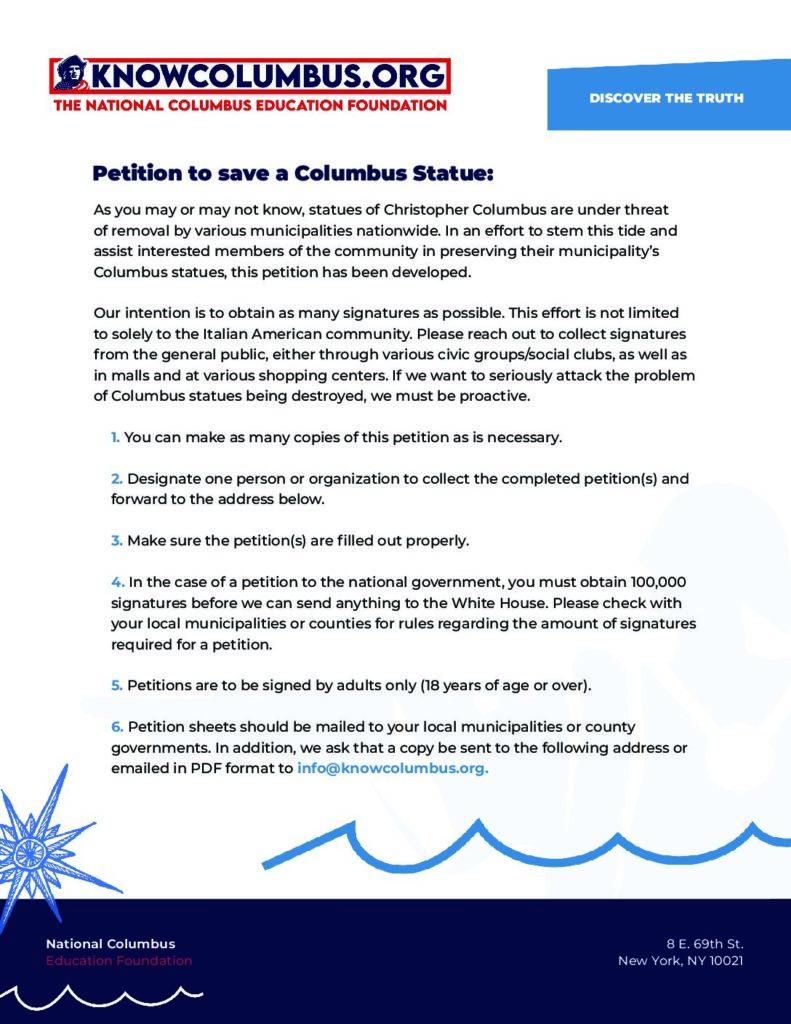 Columbus Statue Petition