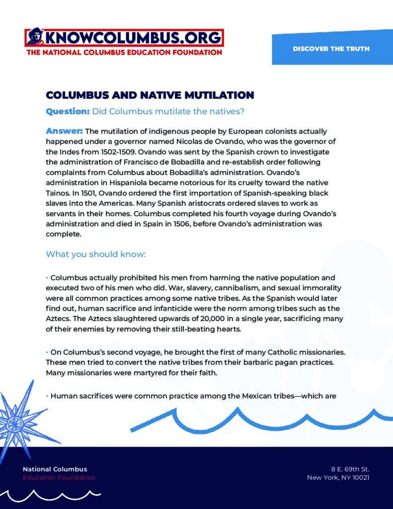 Columbus & Native Mutilation