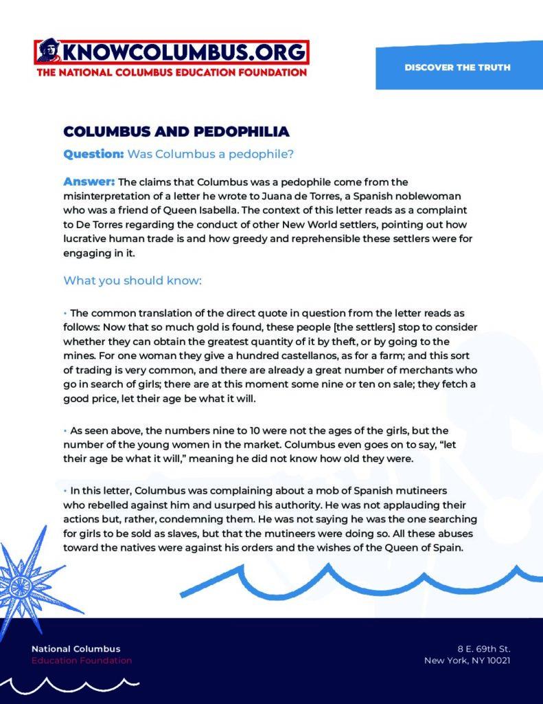 Columbus & Pedophilia